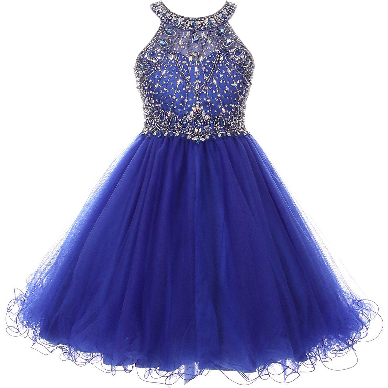 Big Girls Stunning Rhinestones Halter Neck Wired Tulle Corset Back Flower Girl Dress Royal Blue - Size 10