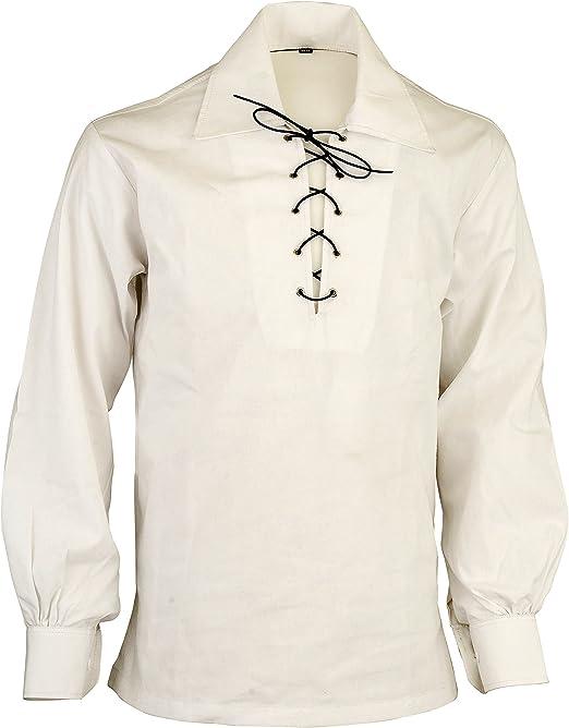Camisa Escocesa de Jacquard Jacobean Ghillie de montaña Blanca Escocesa: Amazon.es: Ropa y accesorios