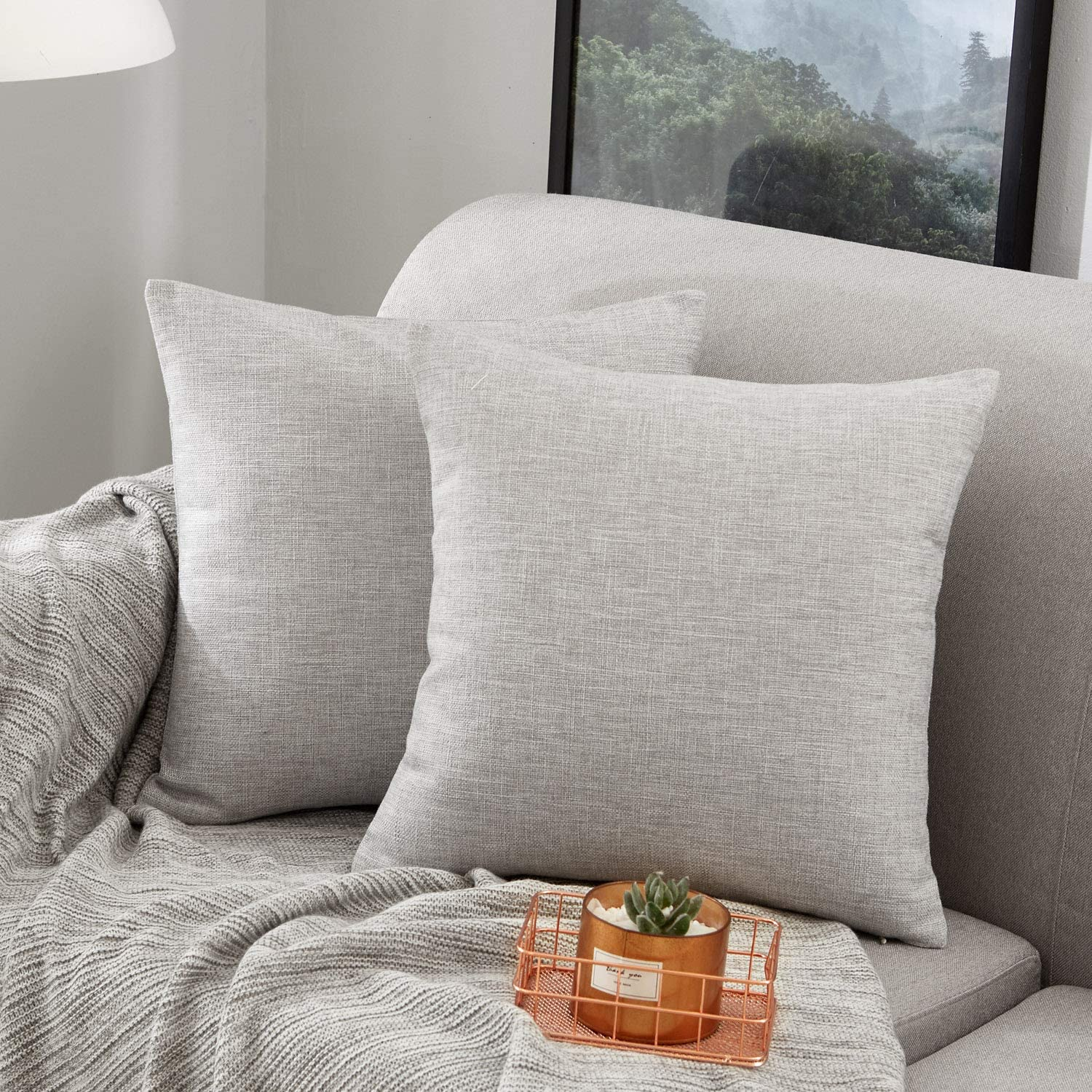 MERNETTE Pack of 2, Cotton Linen Blend Decorative Square Throw Pillow Cover Cushion Covers Pillowcase, Home Decor Decorations for Sofa Couch Bed Chair 18x18 Inch/45x45 cm (Light Grey)