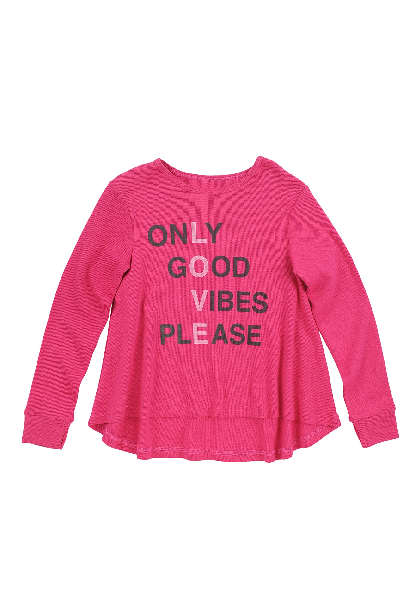 BUTTER SUPER SOFT Girl's Long Sleeve Good Vibes Crewneck High Low Thermal T-Shirt Beetroot Purple 5 by BUTTER SUPER SOFT