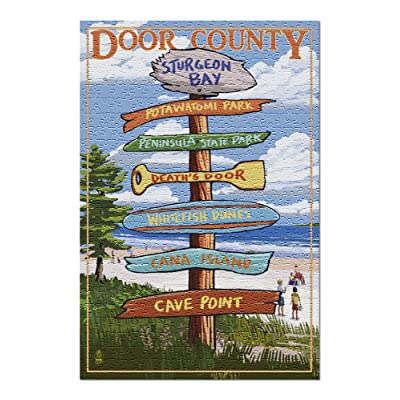 Door County, Wisconsin - Destination Signpost (Premium 500 Piece Jigsaw Puzzle for Adults, 13x19, Made in USA!): Toys & Games