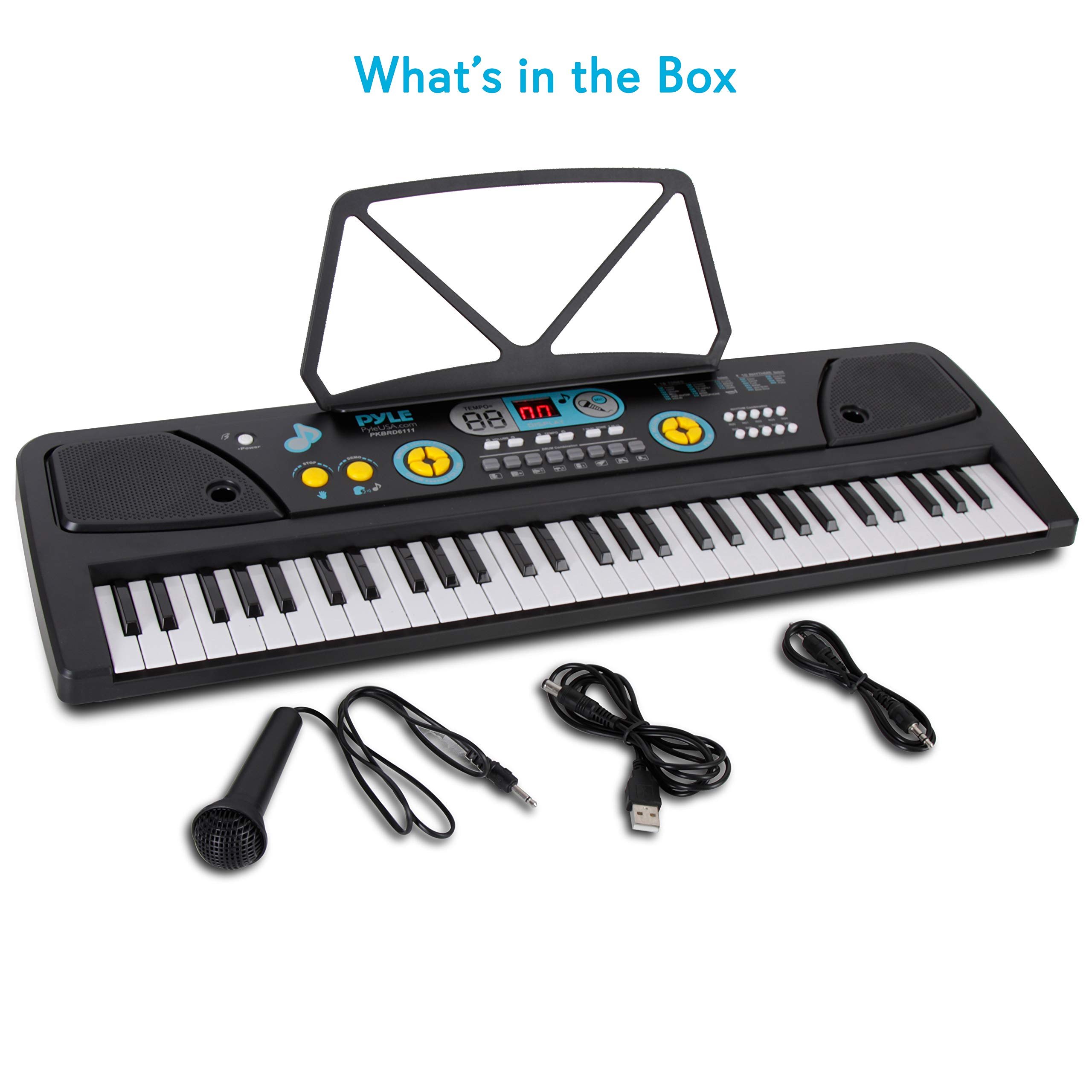 Digital Piano Kids Keyboard - Portable 61 Key Piano Keyboard, Learning Keyboard for Beginners w/ Drum Pad, Recording, Microphone, Music Sheet Stand, Built-in Speaker - Pyle by Directly Cheap (Image #7)