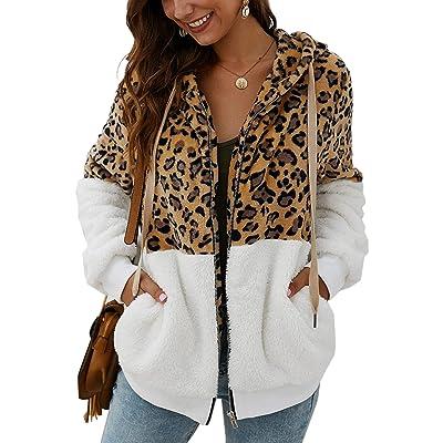Angashion Women's Hoodies - Zipper Fuzzy Faux Fleece Leopard Patchwork Hooded Sweatshirt Coat Winter Sherpa Outerwear Pockets at Women's Clothing store
