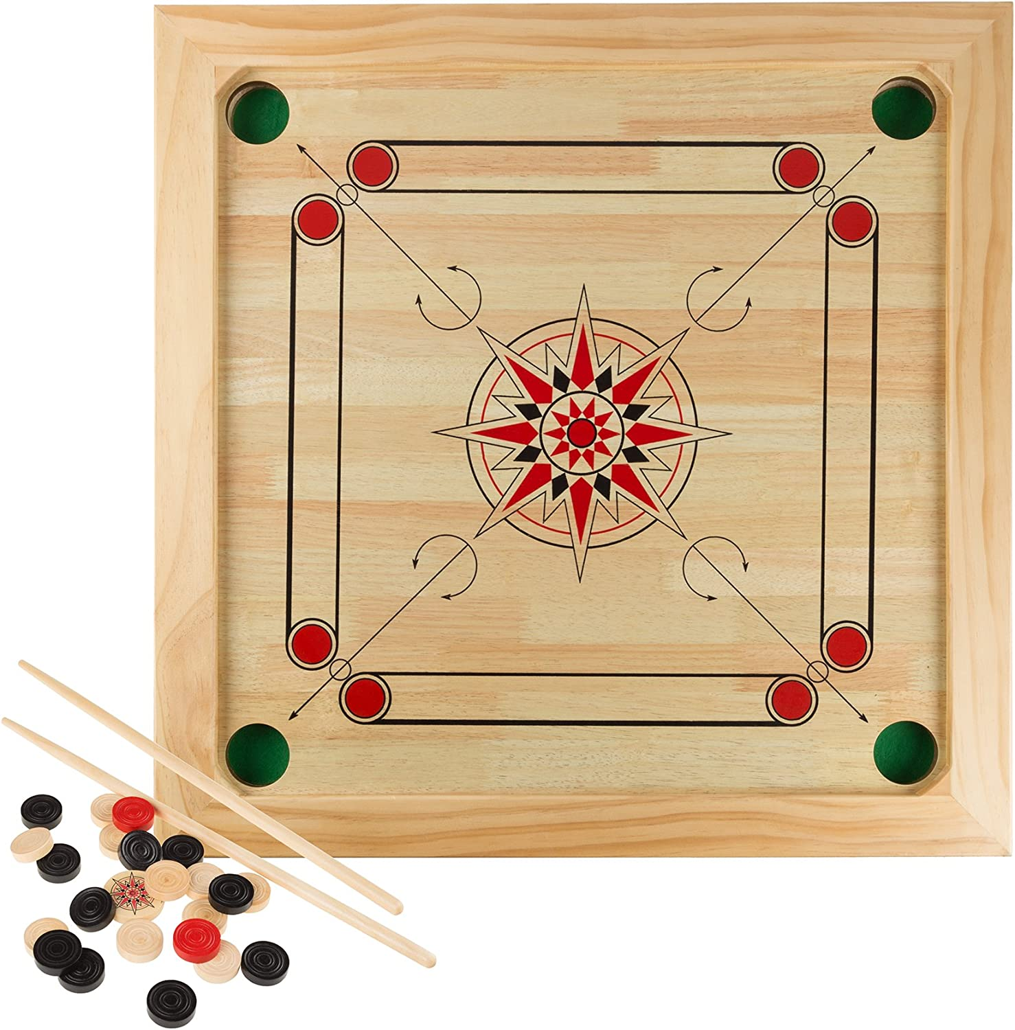 Amazon Com Carrom Board Game Classic Strike And Pocket Table Game With Cue Sticks Coins Queen And Striker For Adults Kids Boys And Girls By Hey Play Toys Games