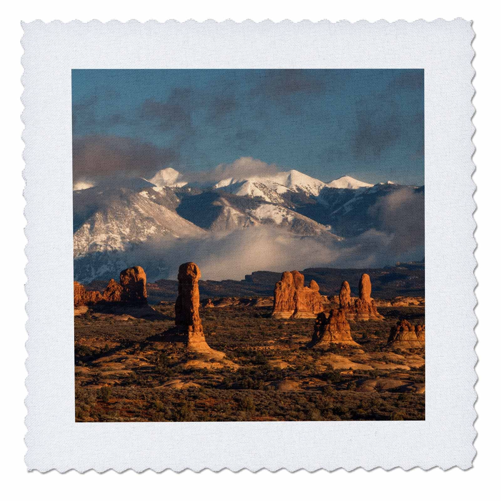 3dRose Danita Delimont - Utah - Usa, Utah, Arches NP. Windows Section with La Sal Mountain range. - 16x16 inch quilt square (qs_260265_6)