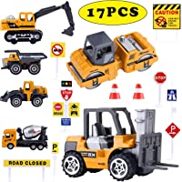 Jellydog Toy 16 Set Mini Construction Trucks,Construction Vehicles Toys ,Cranes, Excavators, Bulldozers, Rollers, Cranes, Loaders, Dump Trucks with 10 Traffic Sign ,Road for Kids