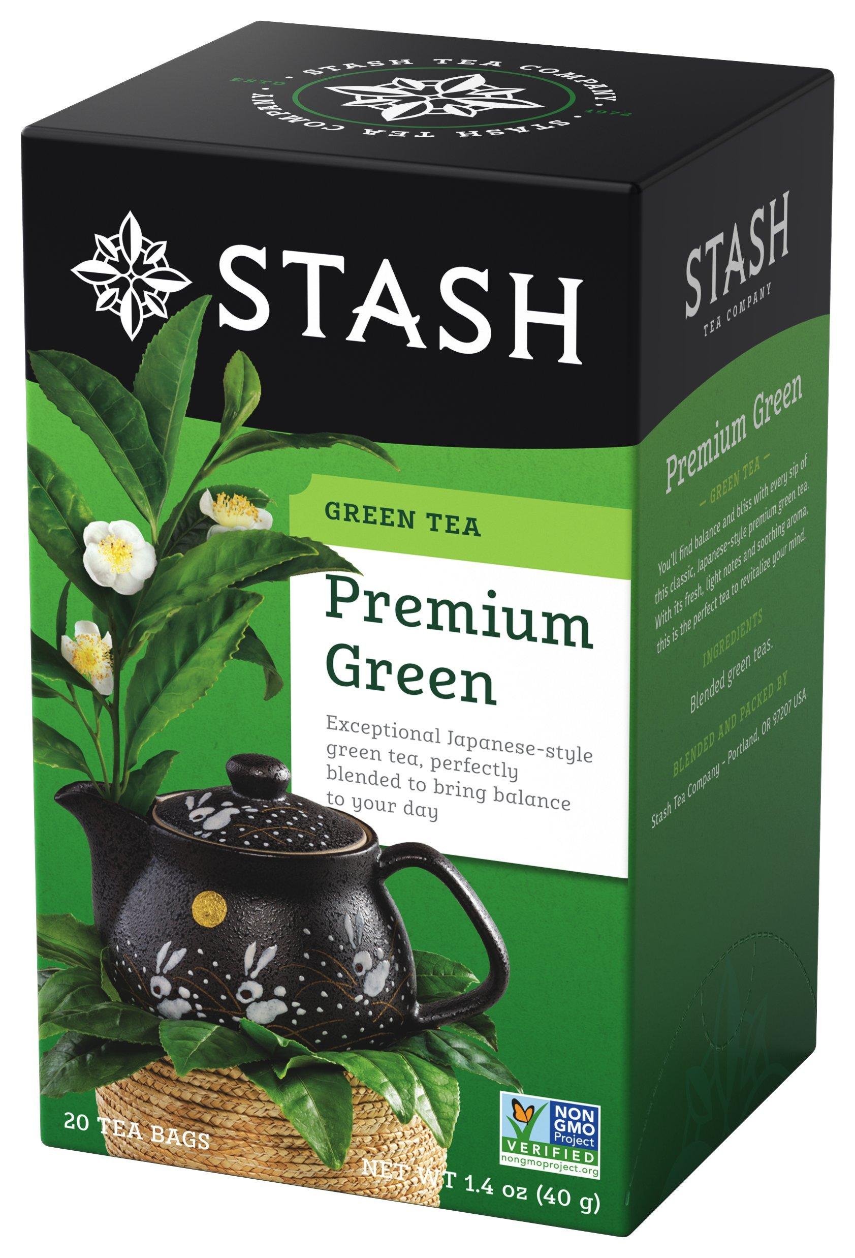 Stash Tea Premium Green Tea 20 Count Box of Tea Bags in Foil (Pack of 6)