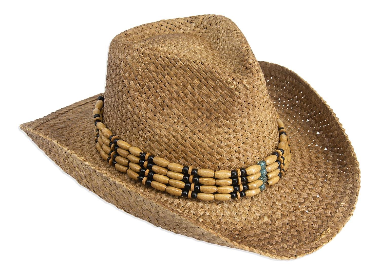 fbfd33e14 Gamble & Gunn Natural Straw Cowboy Hat with Beaded Trim