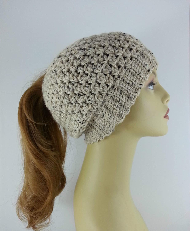 71ae4abfd13b2 Amazon.com  Ponytail Hat Messy Bun Beanie for Women Oatmeal Alpaca Merino  Wool Made in USA  Handmade