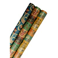 K-Kraft Vintage Prints CHRISTMAS KRAFT WRAPPING PAPER (30 inches x 180 inches per...