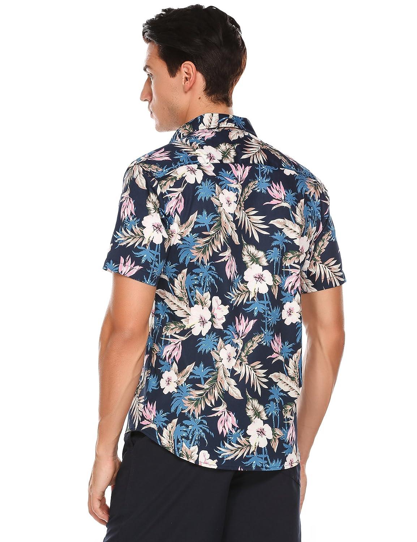 Simbama Mens Summer Short Sleeve Flower Button Down Shirt Fashion Floral Print Shirt
