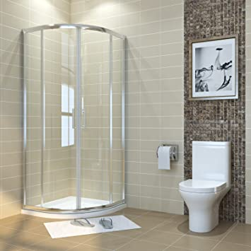 Duschkabine viertelkreis 90x90cm Runddusche Duschabtrennung Schiebetür  Viertelkreisdusche für Badezimmer