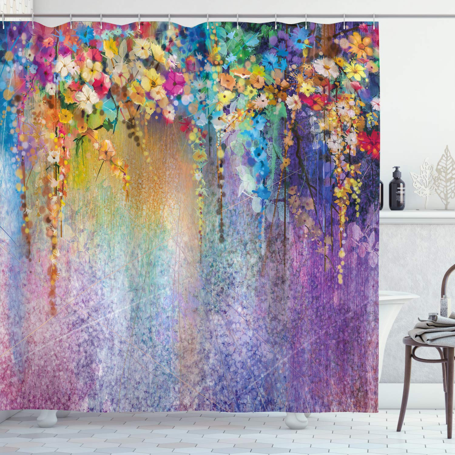 """Ambesonne Flower Shower Curtain, Abstract Herbs Weeds Alternative Medicine Blossoms Ivy Back Florets Shrubs Design, Cloth Fabric Bathroom Decor Set with Hooks, 70"""" Long, Blue Purple"""