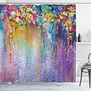 "Ambesonne Flower Shower Curtain, Abstract Herbs Weeds Alternative Medicine Blossoms Ivy Back Florets Shrubs Design, Cloth Fabric Bathroom Decor Set with Hooks, 70"" Long, Blue Purple"