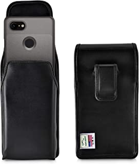product image for Turtleback Holster Designed for Google Pixel 3 (2019) Vertical Belt Case Black Leather Pouch with Executive Belt Clip, Made in USA
