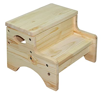 Amazoncom Chunmei Solid Wooden Two Step Stool For Toddlers Potty