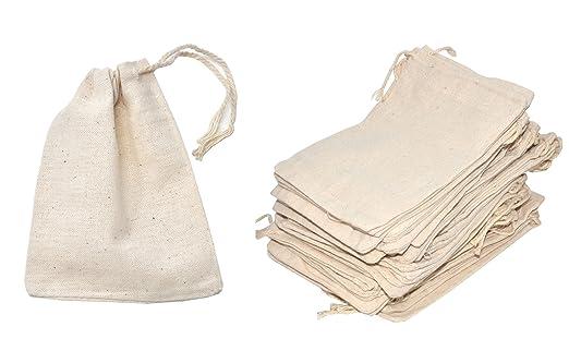 100 Pack 4x6 Cotton Muslin Drawstring Reusable Bags Packing Bath Soap Herbs Tea