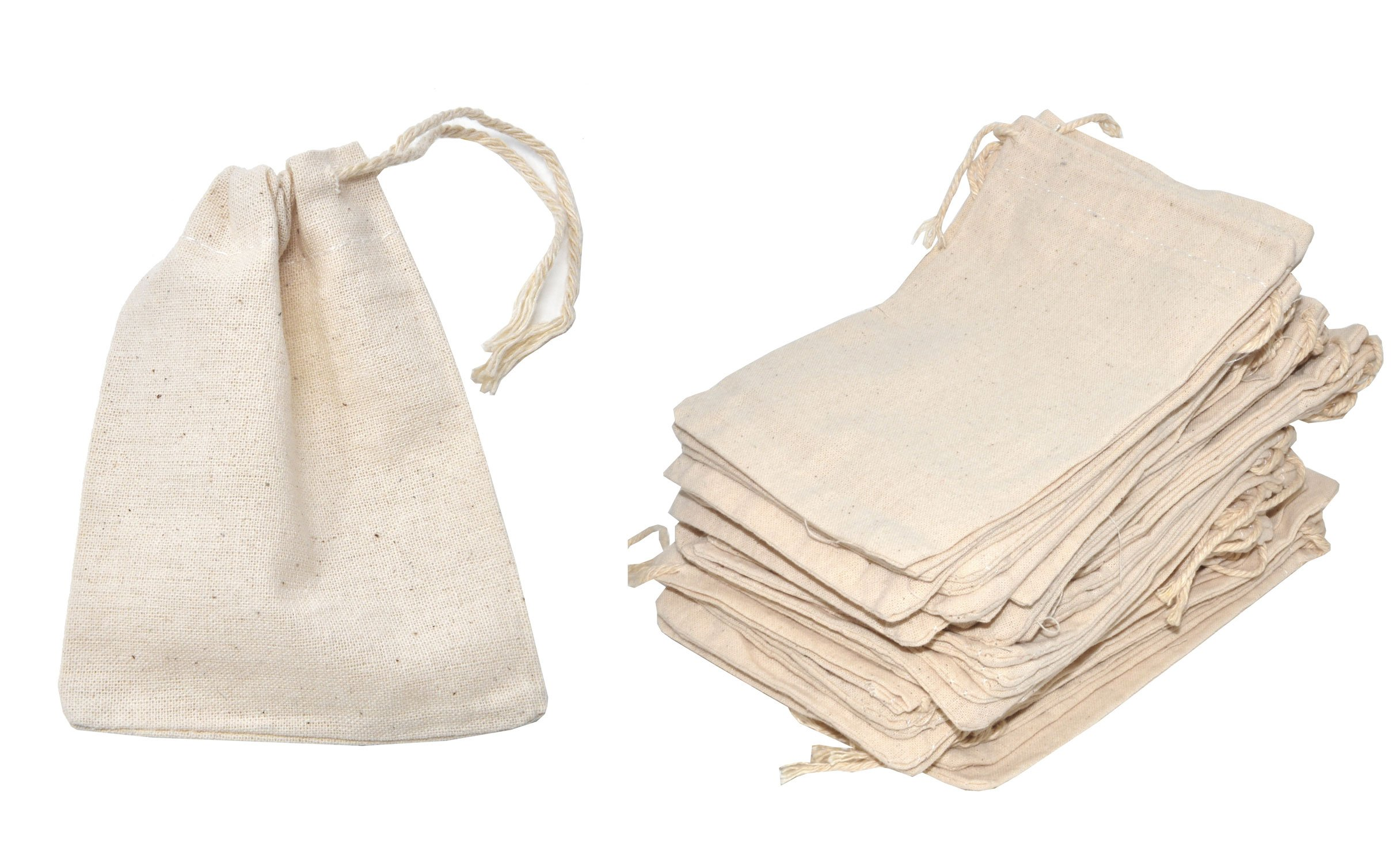 Mandala Crafts Bulk Unbleached Fabric Cloth Cotton Muslin Sachet Bags with Drawstring for Soap Spice Tea Favor Gift (3 X 4 inches 100 Count, Ivory)