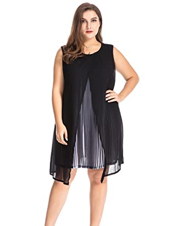 a7c87a7a77a Chicwe Women s Plus Size Chiffon Multi Layers Split Pleat Tunic Dress -  Casual Party and Work