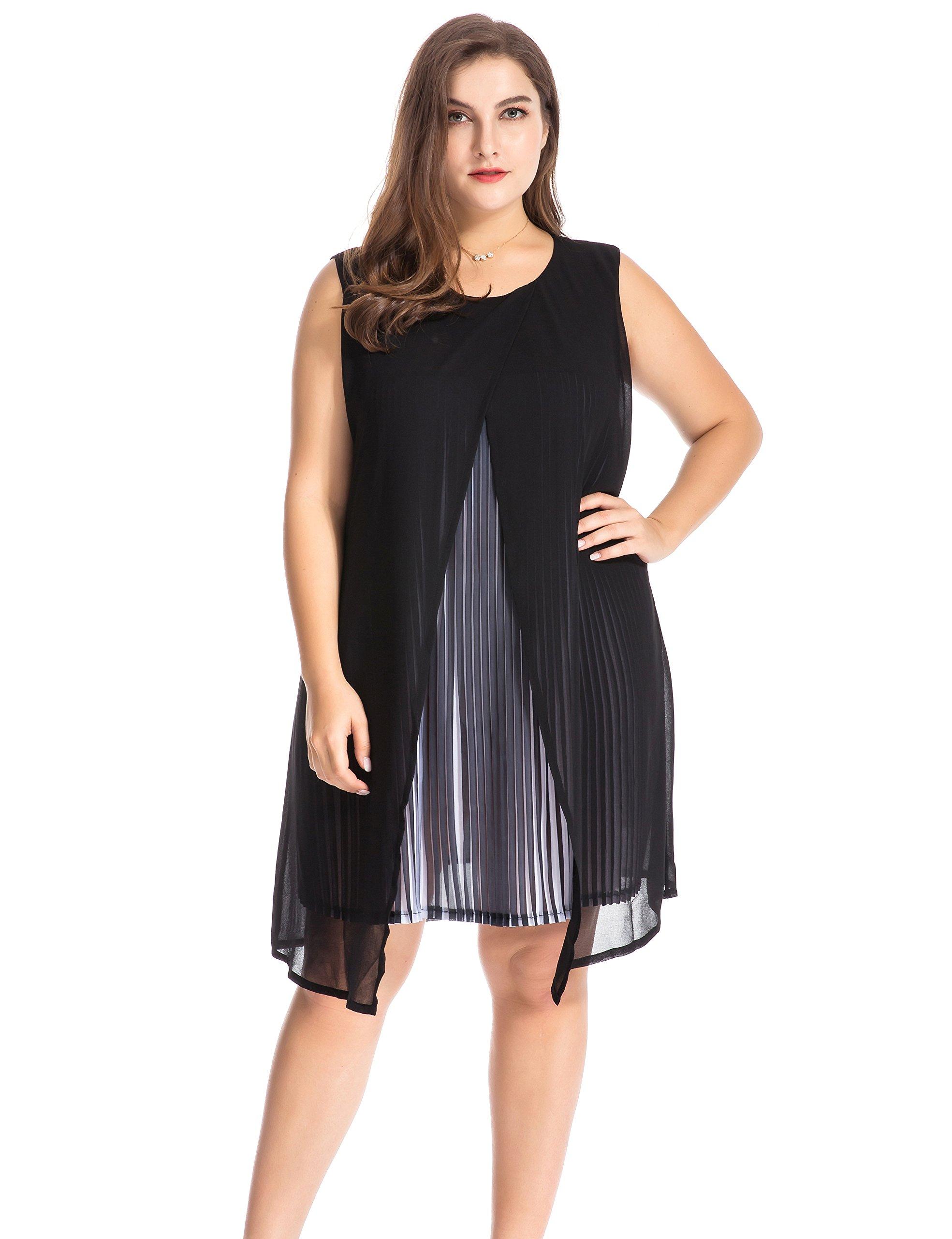 Chicwe Women's Plus Size Chiffon Multi Layers Split Pleat Tunic Dress - Casual Party and Work Dress 3X