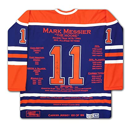 Mark Messier Career Jersey - Autographed - LTD ED 199 - Edmonton Oilers 9c6519fa7