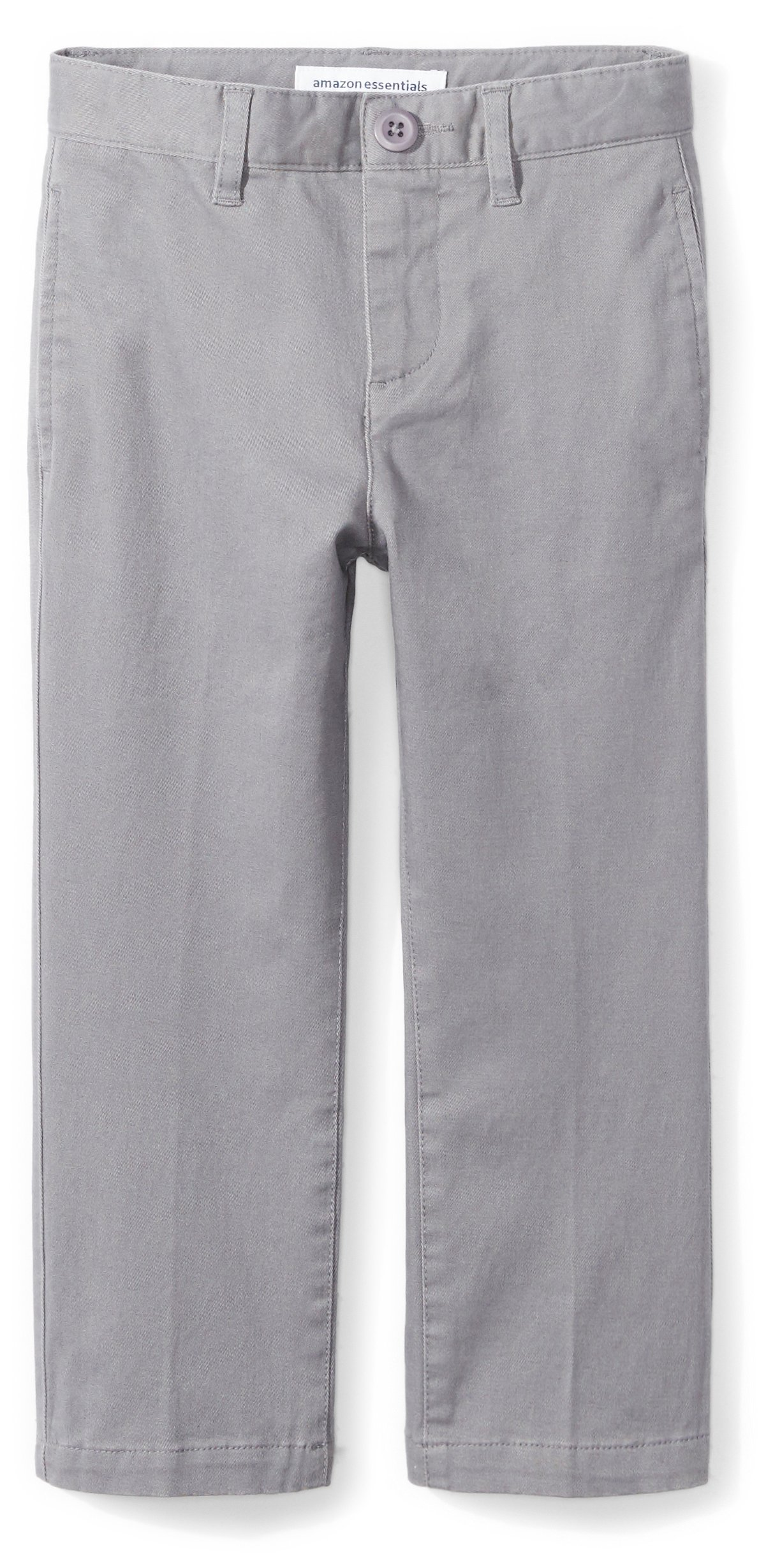 Amazon Essentials Boys' Straight Leg Flat Front Uniform Chino Pant, Gray, 2T