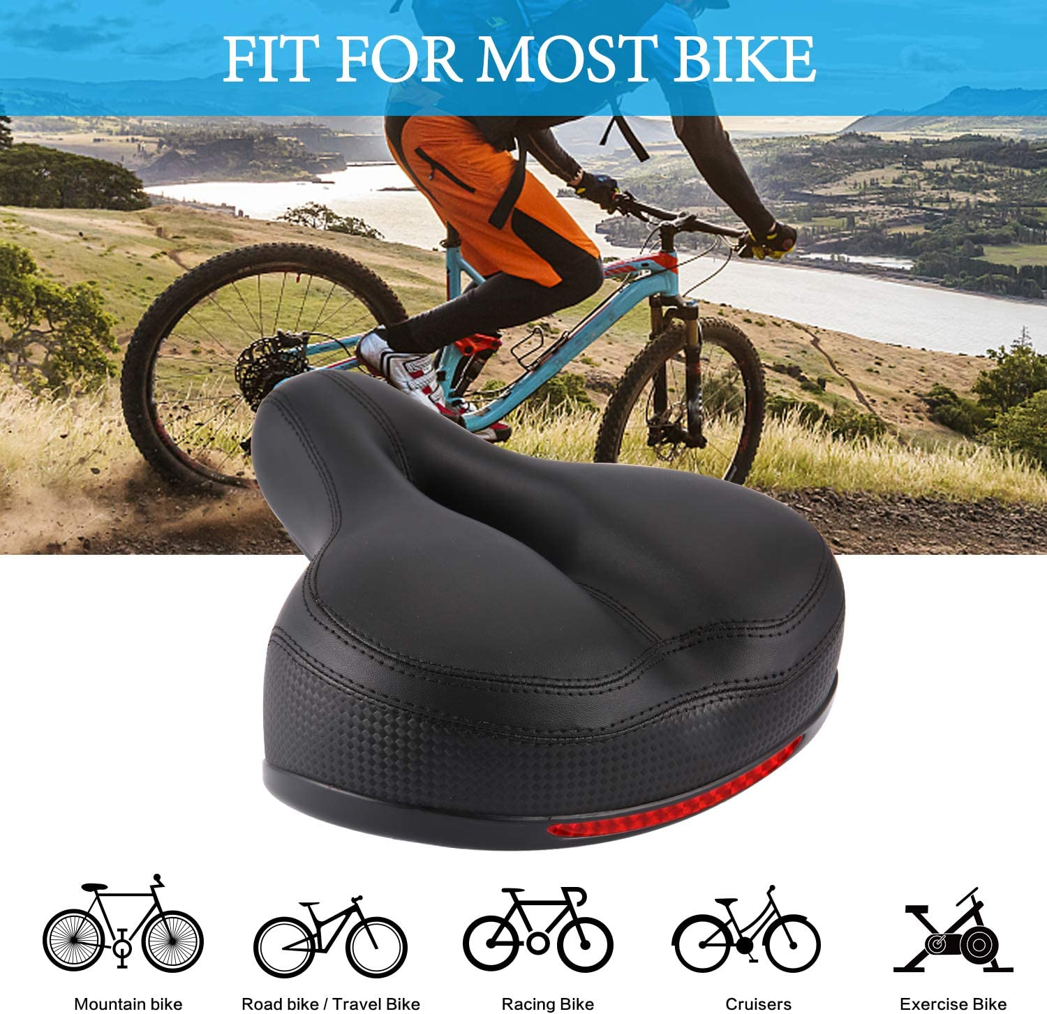 WUTUNS Comfort Bike Seat for Women or Men Silicone Waterproof Sturdy Shock Bicycle Saddle,Taillight Reflective Strip with Double Shock Absorber Ball Saddle Universal Fit for Indoor Outdoor Bikes