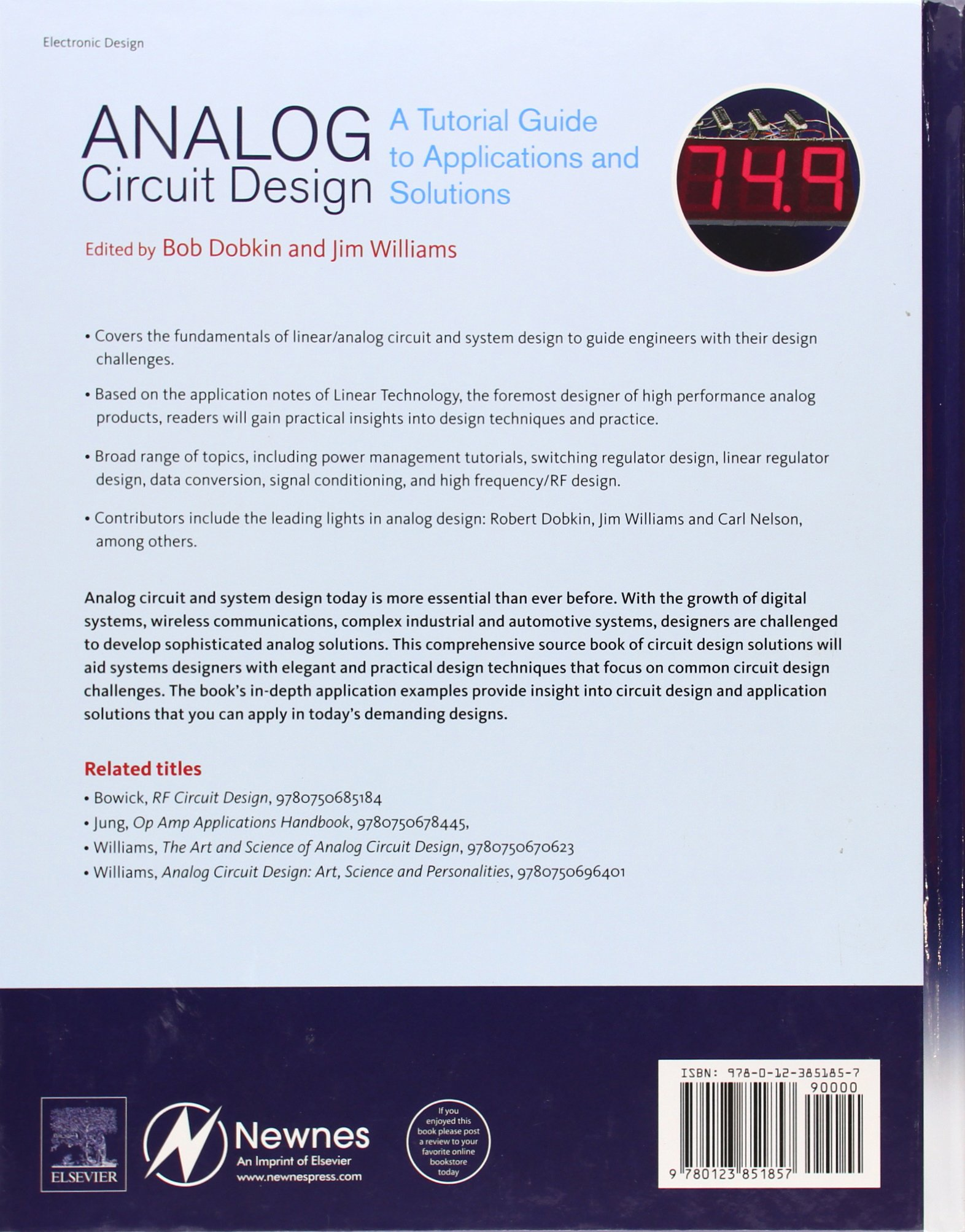Analog Circuit Design A Tutorial Guide To Applications And Fundamentals Of Linear Electronics Integrated Discrete Circuitry Solutions Bob Dobkin Jim Williams 9780123851857 Books