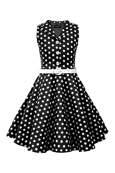 Kids 1950s Clothing & Costumes: Girls, Boys, Toddlers BlackButterfly Kids Holly Vintage Polka Dot 50s Girls Dress $31.99 AT vintagedancer.com