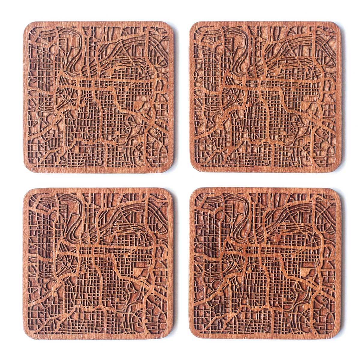 Kansas City Map Coaster, Set of 4, Sapele Wooden