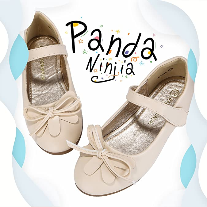 7e166f0fcca99 PANDANINJIA Updated Bow-Knot Toddler/Little Kids Ariana Princess Uniform  School Ballet Flower Mary Jane Girls Flats Dress Shoes