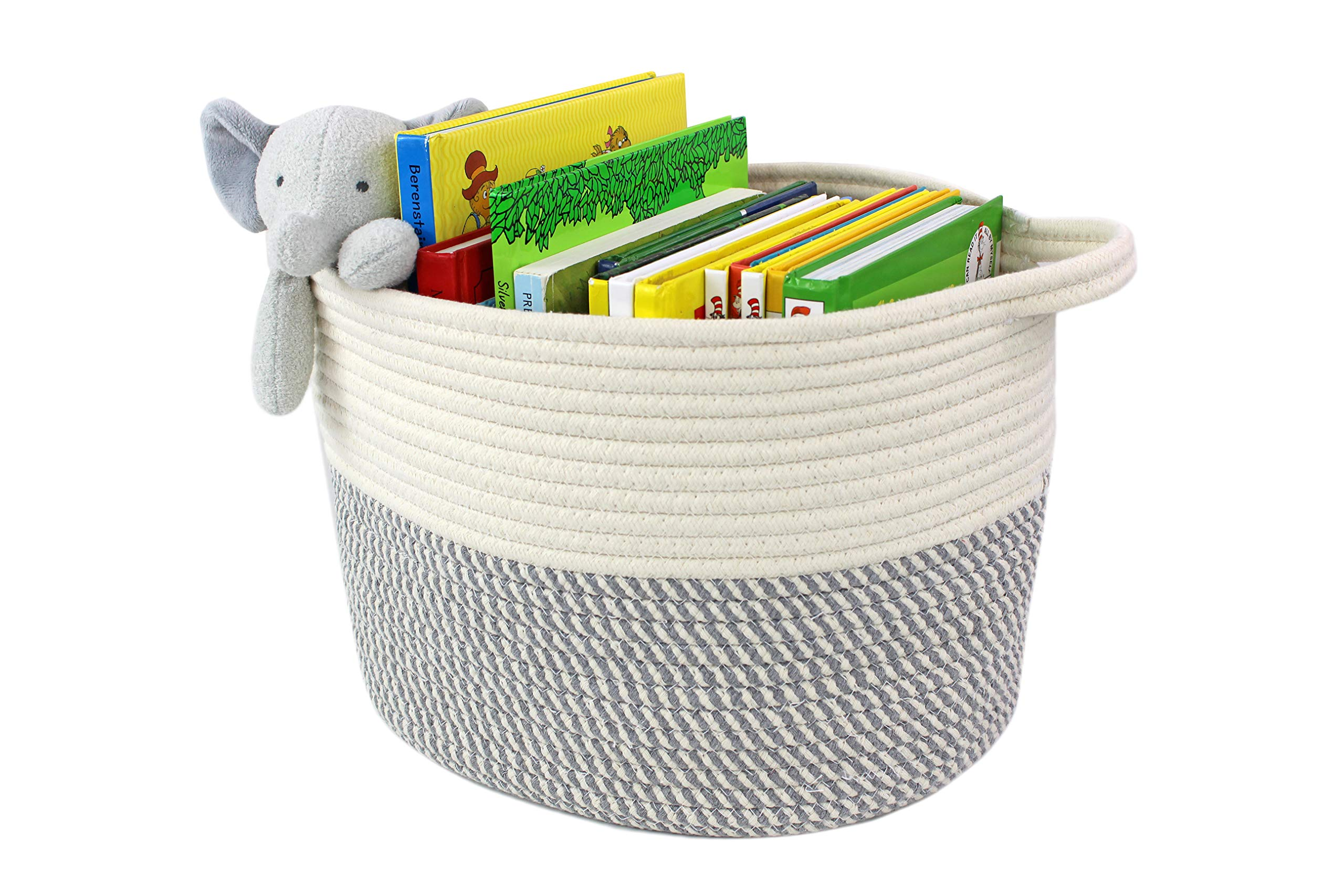 Bins & Things Cotton Rope Basket - Set of 3 Woven Basket - Sturdy Baby Nursery Toy Storage Basket with Handles - Baskets Come in 3 Sizes (S, M, L)