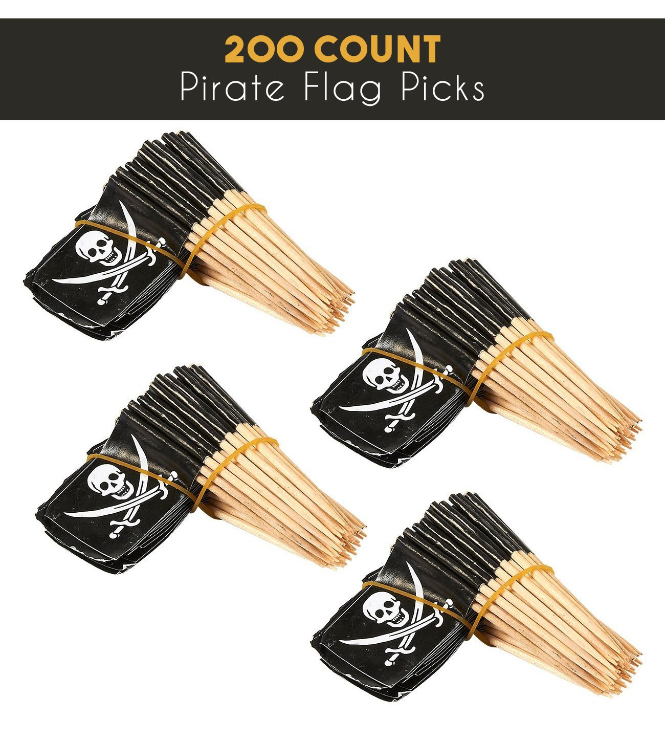 Cupcake Decoration for Kids Parties Cocktail Appetizer 200 Count Pirate Flag Picks Party Cocktail Toothpicks for Food 2.5 x 1.375 Inches Juvale
