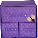 Pindia Foldable Fabric Storage Box Organizer, 3 Drawer, Purple