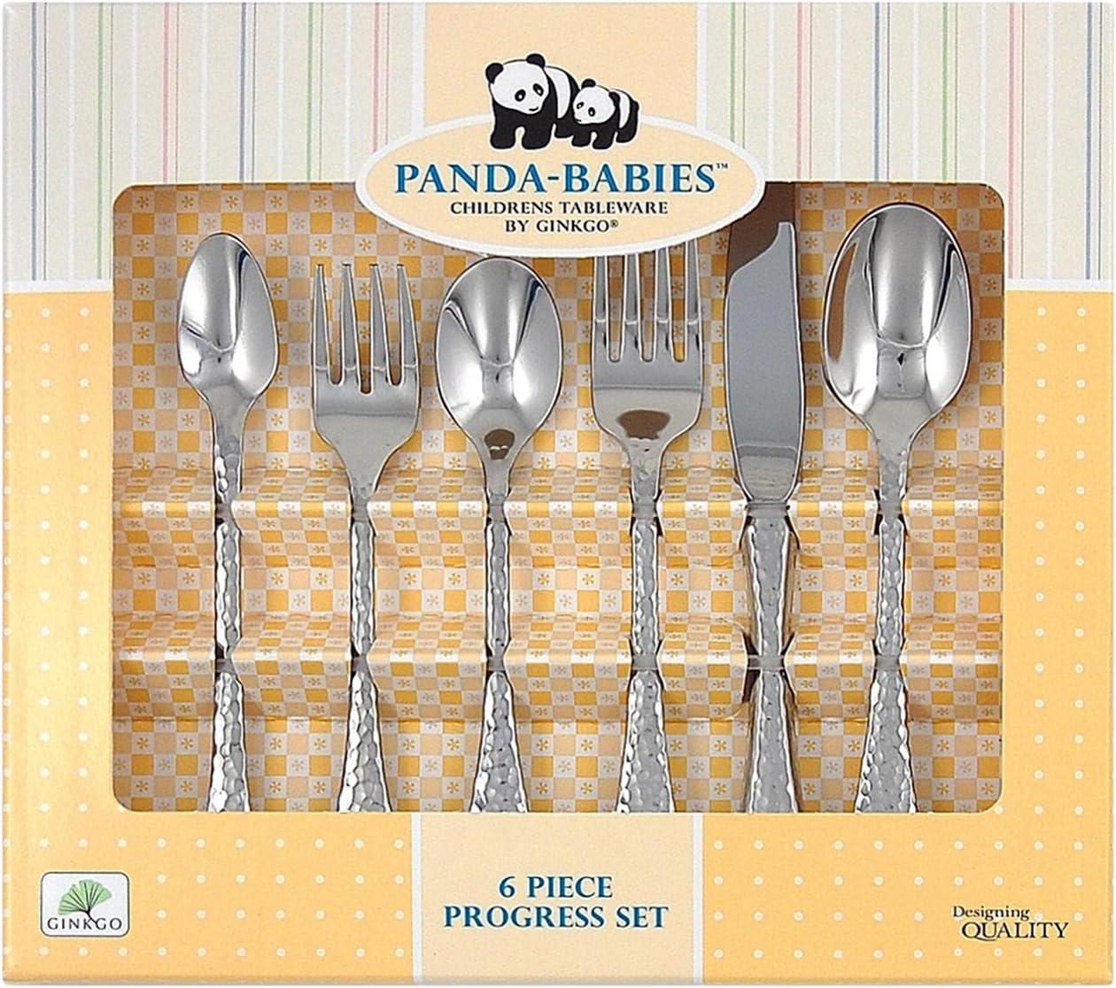 Ginkgo International Panda-Babies Baby to Child Progress Stainless Steel Flatware Set, 6-Piece