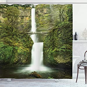 "Ambesonne Hobbits Shower Curtain, Falls of Rivendell Multnomah Waterfall Oregon with Hobbit Elf Path Bridge Scene Image, Cloth Fabric Bathroom Decor Set with Hooks, 75"" Long, Green"