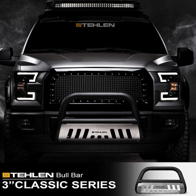 Dodge Ram Bull Bar >> Stehlen 714937182110 3 Classic Series Bull Bar Matte Black Brush Aluminum Skid Plate For 09 18 Dodge Ram 1500 2019 Classic
