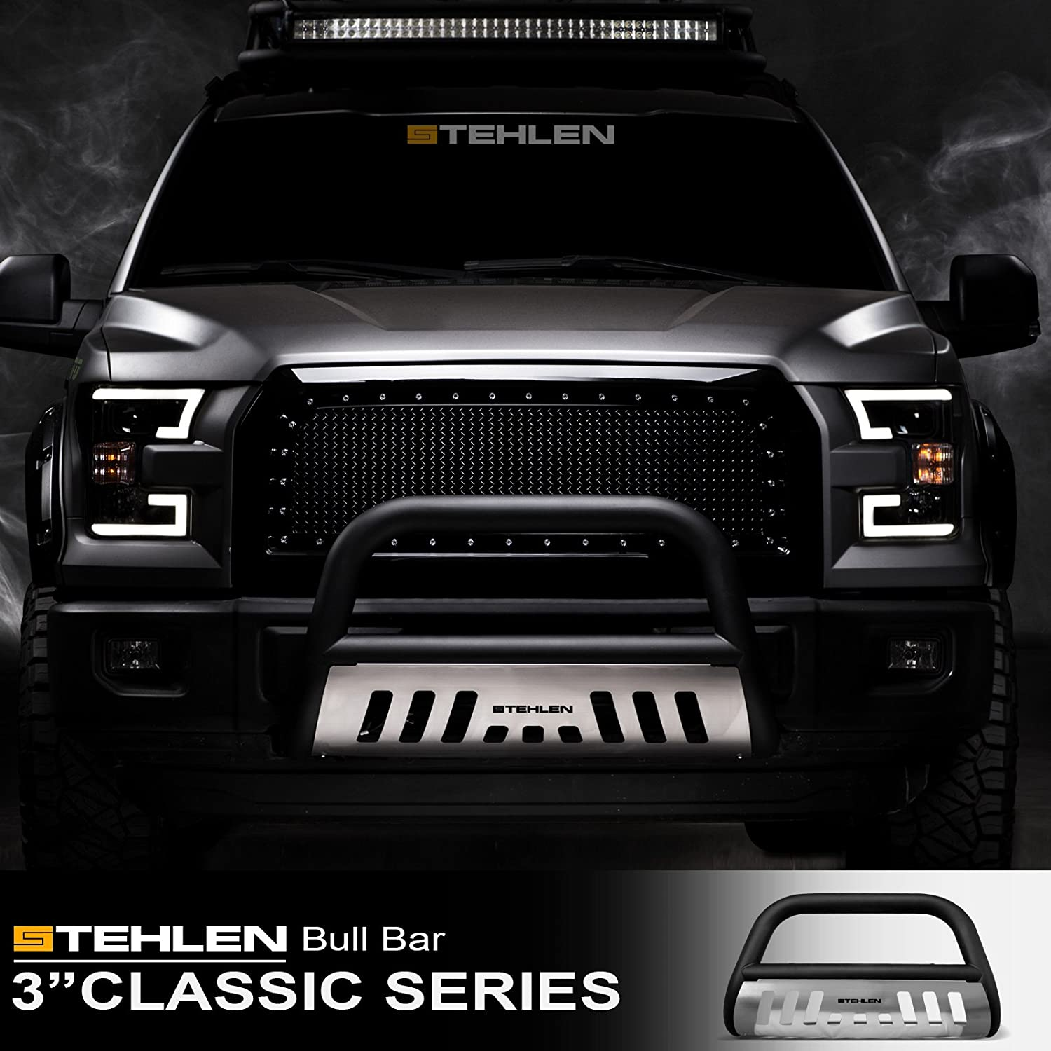 Black For 98-11 Ford Ranger Stehlen 714937182165 3 Classic Series Bull Bar