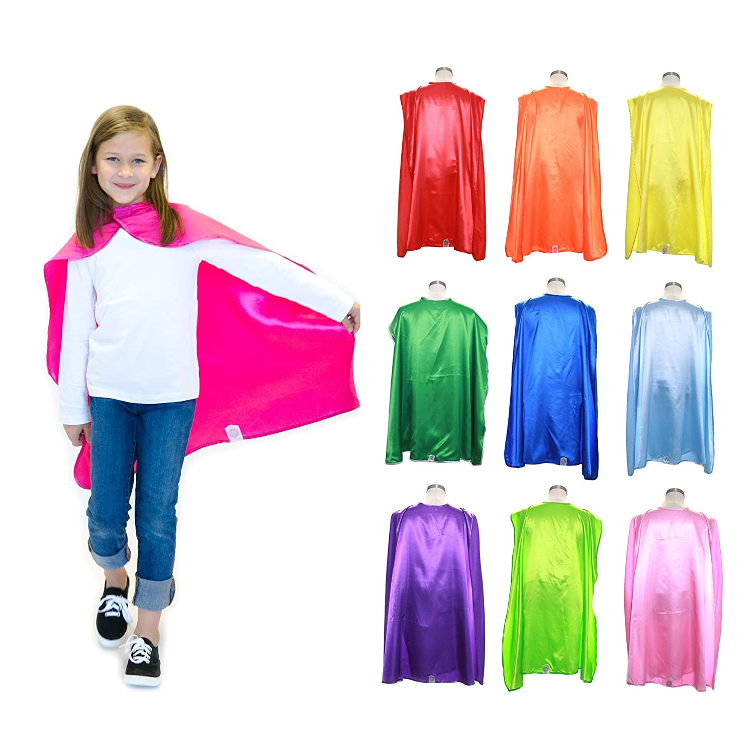 Set of 10 Polyester Satin Capes Bulk Super Hero Cape Kids 120701-PP-10 Everfan Youth Superhero Cape Party Pack