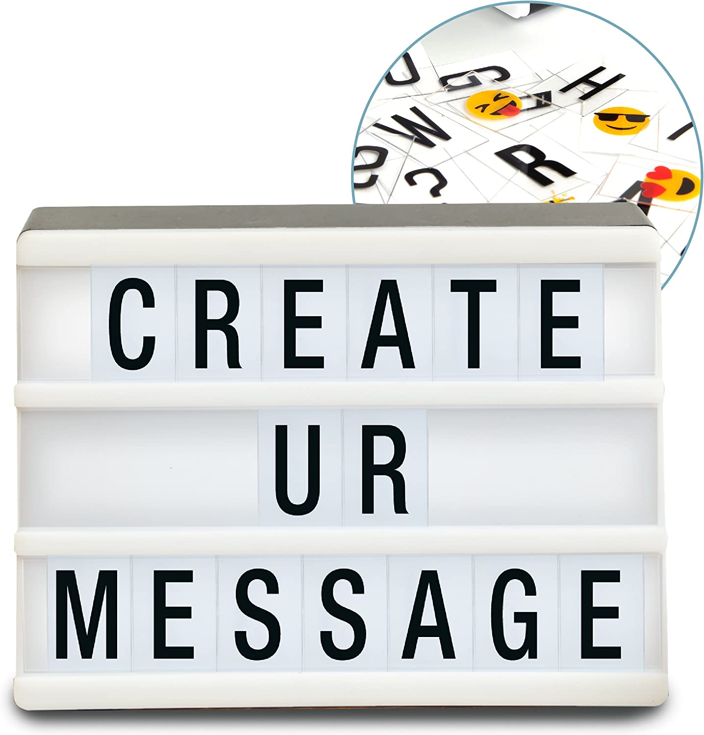 Sharper Image Mini Cinematic Light Up Box LED Message Letter Board Sign with 90 Letters and Emoji, Movie Marquee Lightbox, Aesthetic Bedroom & Room Decor, Theater Cinema Letterbox Lights Display