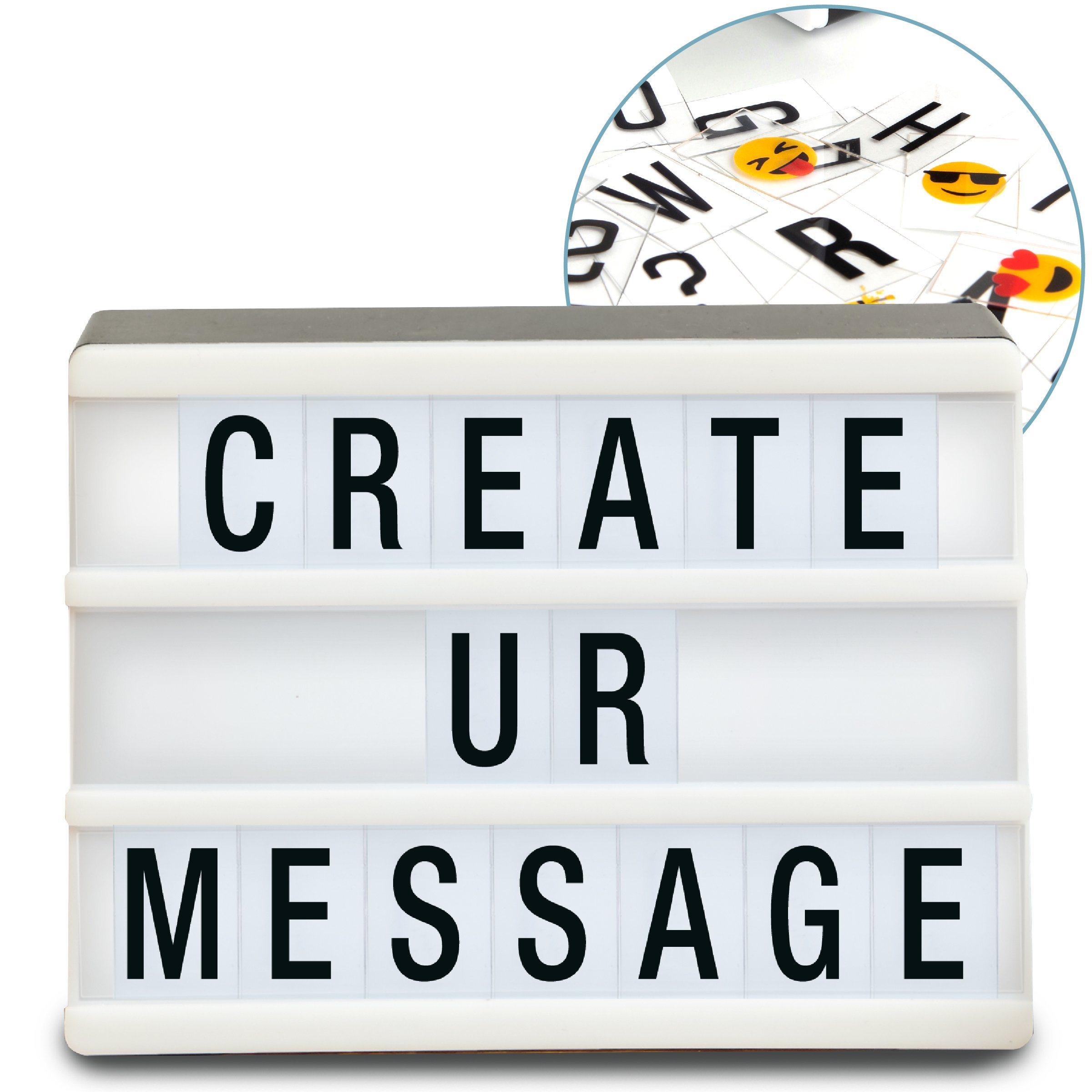 Sharper Image Mini Cinematic Light Up Box LED Message Letter Board Sign with 90 Letters and Emoji, Movie Marquee Lightbox, Aesthetic Bedroom & Room Decor, Theater Cinema Letterbox Lights Display by Sharper Image