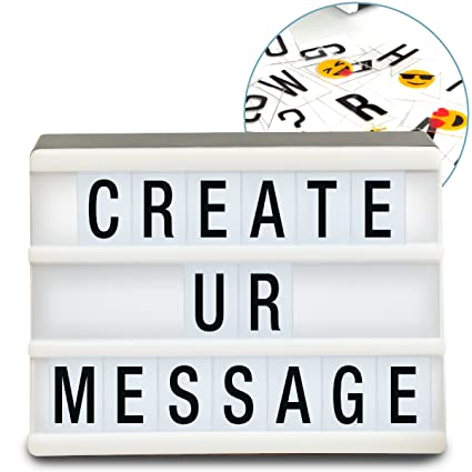 Sharper Image Mini Cinematic Light Up Box Led Message Letter Board Sign With 90 Letters And Emoji Movie Marquee Lightbox Aesthetic Bedroom Room