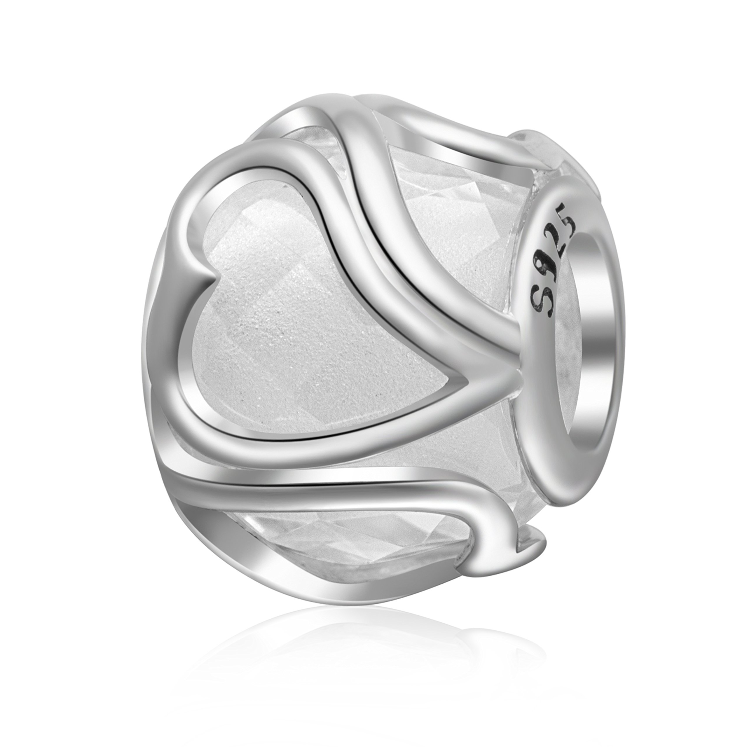 ABUN Radiant Heart Glass Charm 925 Sterling Silver Birthstone Love Charm for 3mm Snake Chain Bracelet (clear)