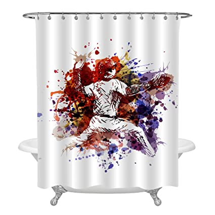 MitoVilla Baseball Shower Curtain Set With Hooks For Sports Themed Bathroom Decorations Colorful Player