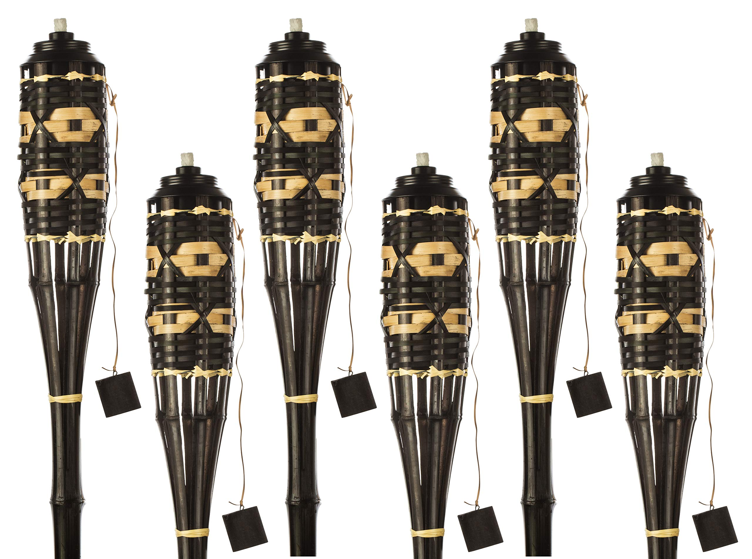 5 Star North Brown/Natural Weave Bamboo Torches; Decorative Torches with Fiberglass Wicks; Extra-Large (16oz) Metal Canisters for Longer Lasting Burn; Stands 59'' Tall (6 Pack)