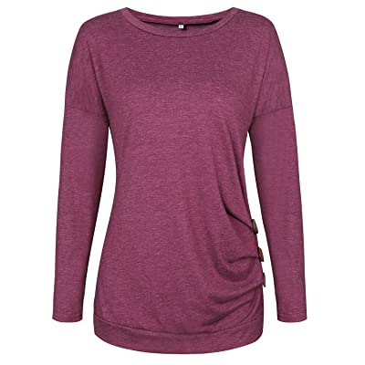 Roaays M Womens Long Sleeve T-Shirts Buttons Decor Casual Loose Blouse Tops