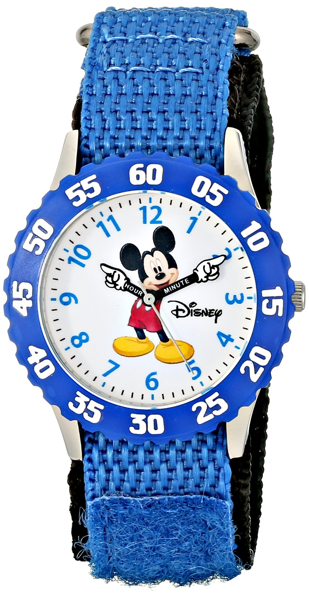 Disney Kids' W000228 ''Mickey Mouse Time Teacher'' Stainless Steel Watch with Blue Nylon Band by Disney
