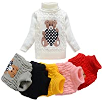 VIFUUR Suéter de Cuello Alto niños Oso Niños Girls Knit Sweater para Navidad