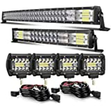 42 INCH 240W Curved LED Light Bar+ 22 INCH 120W Curved Light Bar+4inch 60w LED Light pods With Wiring Kit Combo