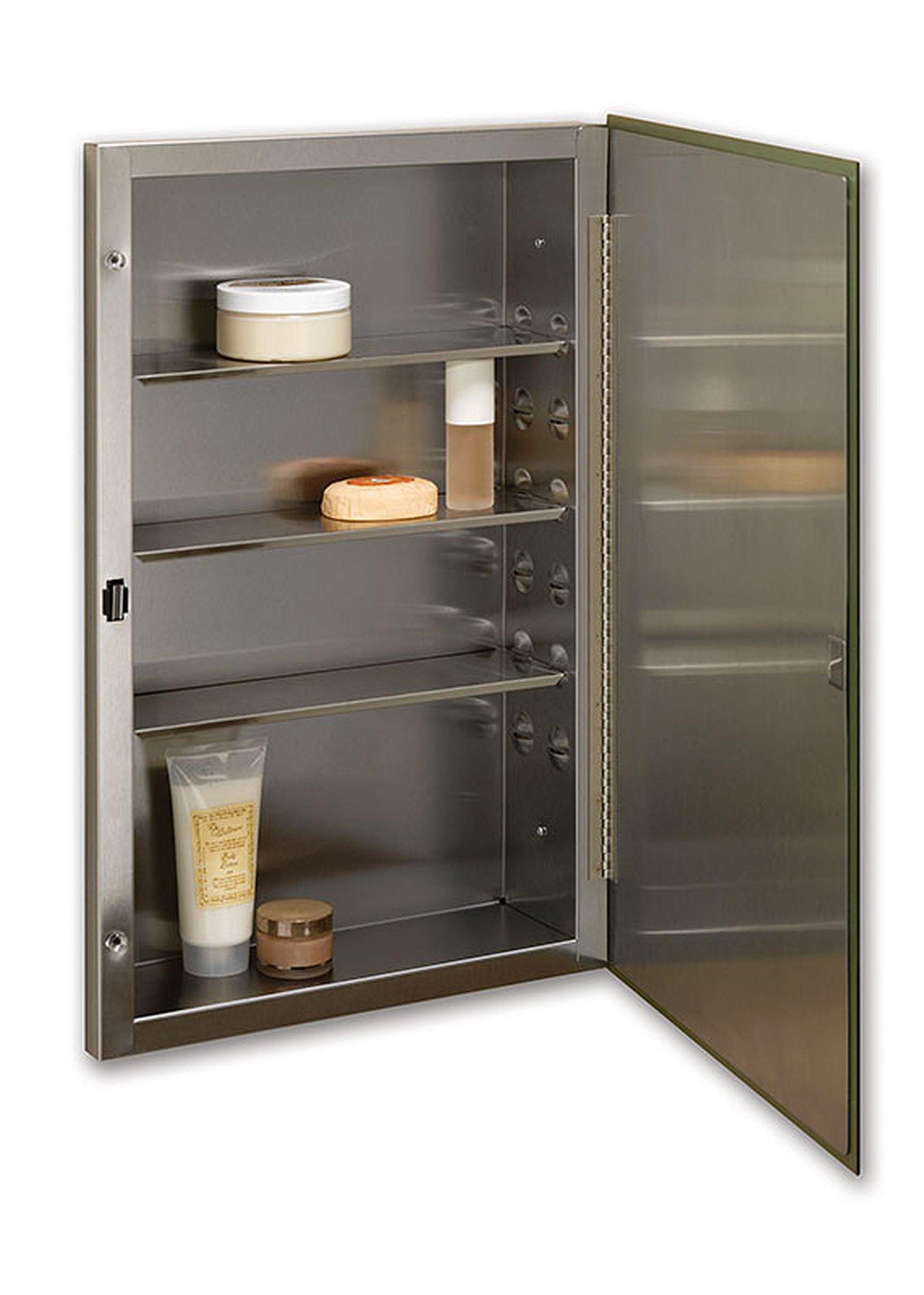 Jensen 84024SSX Stainless Steel Frame Medicine Cabinet, 16'' x 26''
